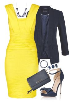 """""""Navy and Yellow"""" by bandlover11132 ❤ liked on Polyvore featuring Miss Selfridge, Nicole Miller, Little Mistress, MICHAEL Michael Kors and Charlotte Russe"""
