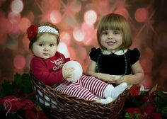 Baby children's holiday portraiture studio portrait photography siblings sisters Christmas