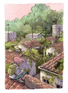 Japon Illustration, Watercolor Illustration, Pretty Art, Cute Art, Arte Indie, Arte Sketchbook, Landscape Drawings, Watercolor And Ink, Aesthetic Art
