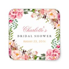 Romantic Chic Floral Wreath Wedding Bridal Shower Square Sticker