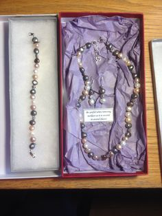 Alison's beautiful pearl necklace, bracelet and earrings.