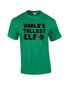 3180b7d6 World's Tallest Elf T Shirt Funny Christmas Tee Elves Premium Men's ...