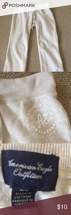 "American Eagle Outfitters sweatpants Thick and soft AE drawstring sweatpants; bought new on Posh for $ 15; 30"" inseam and 39"" top to bottom; worn and washed a couple of times; still in great condition; really cute! American Eagle Outfitters Pants Track Pants & Joggers"
