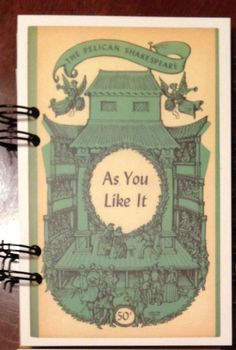 as you like it. william shakespeare. notebook. Postcard. Notes. Journal. play. typography. shakesspeare.. $7.00, via Etsy.