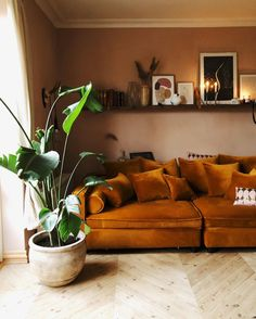 my scandinavian home: 11 Inspiring Autumn Updates To Steal From A Hygge Danish H. - my scandinavian home: 11 Inspiring Autumn Updates To Steal From A Hygge Danish Home / ochre velvet - Living Room Interior, Home Living Room, Living Room Designs, Living Room Decor, Bedroom Decor, Living Room Warm Colors, Room Colors, Interior Livingroom, Decor Room