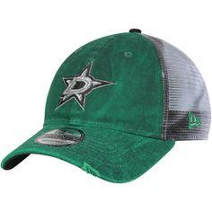 Men s New Era Kelly Green White Dallas Stars Team Rustic Trucker 9TWENTY  Adjustable Snapback Hat 1d57b94bb159