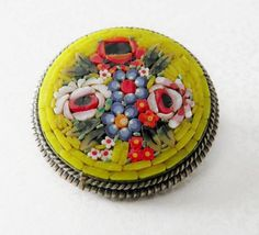 Vintage Micro Mosaic Pin in yellow