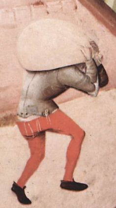 Workman shown fastening of the hose to the short doublet by means of points or ties, Bosch 1475–80. Hieronymus Bosch 093 detail 1.jpg