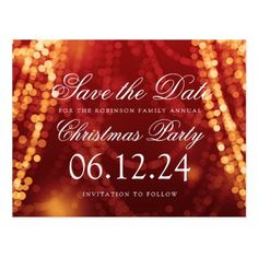 #savethedate #postcards - #Christmas Save The Date String Lights Gold Red Postcard