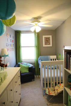 Gray, Blue and Green   nursery - like the teal color