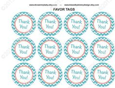 Baby Shower Decorations - Coral & Teal PRINTABLE Baby Shower Cupcake Toppers - Light Teal Coral Favor Tags - Chevron Party Supplies - http://babyshower-cupcake.com/baby-shower-decorations-coral-teal-printable-baby-shower-cupcake-toppers-light-teal-coral-favor-tags-chevron-party-supplies/