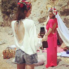 madameshoushou summer collection photoshoot girls vintage girlie beach sand boho flowers on hair lovely moments