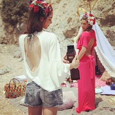 madameshoushou summer collection photoshoot girls vintage girlie beach sand boho flowers on hair lovely moments