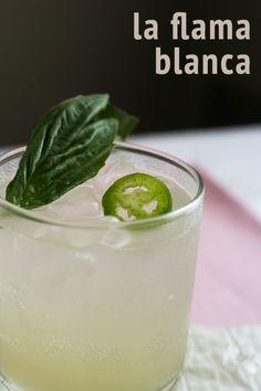 A fizzy basil lime mezcal cocktail!