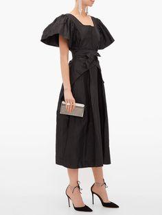 Taffeta Dress, Silk Taffeta, Black Bridal Dresses, Thornton Bregazzi, Black Silk, Pleated Skirt, Cold Shoulder Dress, Women Wear, Elegant