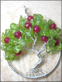 Apple Tree - Tree of Life Pendant in Peridot and Ruby Red Jade