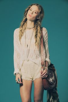 the outfit is cute, but i love the fishtail braids in her hair. A new hairstyle i want to try out #fish #tail #braid #hair