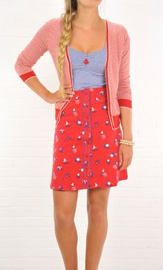Vintage inspired King Louie summer skirt with boats.