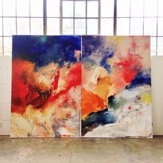 """I couldn't figure out how to finish these two paintings and then I pushed them together and look at how they line up and BOOM they're done. """"Love Explosion"""", 144"""" x 108"""" acrylic on canvas"""