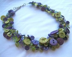 BUTTONED UP VINEYARD Button Necklace with 125150 by BeadyWhite, $36.00