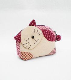 Adorable gatito cremallera acolchado monedero marrón por MadeBySiam