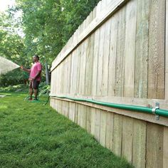 Add a Remote Hose Connection for Easier Watering If you're constantly dragging long lengths of hose from the house to the far corners of your yard, consider adding a remote faucet instead. Rain Garden, Lawn And Garden, Garden Tips, Outdoor Projects, Garden Projects, Diy Projects, Natural Waterfalls, Lush Lawn, Outdoor Privacy