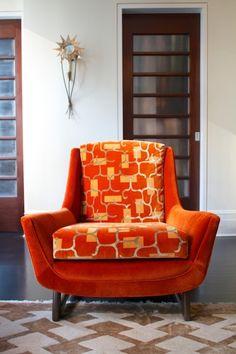 Adrian Pearsall 1960s lounge chair upholstered by Barry Goralnick in Stark velvet and Designtex printed velvet