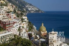 View Along the Amalfi Coast of the Town of Positano, Campania Italy Photographic Print by Brian Jannsen at Art.com