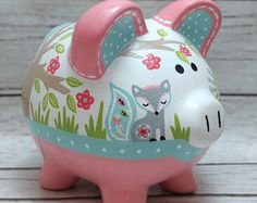 Personalized Piggy bank mint and coral woodland by Alphadorable Pottery Painting, Diy Painting, Fun Crafts To Do, Diy And Crafts, Baby Piggy Banks, Pig Bank, Personalized Piggy Bank, Fox Nursery, Cute Piggies