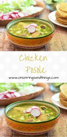 Chicken Posole is a hearty Mexican soup made with tender chicken pieces, hominy and green chili pasilla sauce