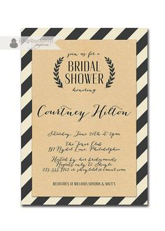 baby shower :: Kraft Bridal Shower Whimsical Script Black & Off White Striped Modern Bridal Wedding Shower Invitation Printable or Printed - Courtney Style. Wedding Shower Invitations, Graduation Invitations, Party Invitations, Nautical Bridal Showers, White Bridal Shower, Nautical Party, Kate Spade Bridal, Couple Shower, Colorful Party