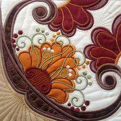 Corner of 9th and last medallion of Hoop Sisters Sewn Seeds Sampler Quilt.