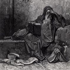 """Gustave Doré - """"Merlin"""" - Illustration pour """"Les Idylles du Roi"""" (The Idylls of the King), une série de poèmes narratifs écrits par Alfred Tennyson, basés entièrement sur le Roi Arthur & la Légende arthurienne."""