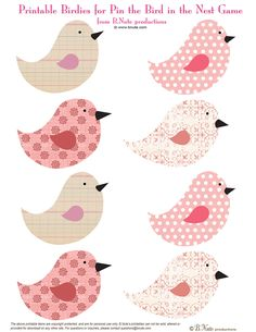 bnute productions: Free Printable Pin the Birdie in the Nest Game - use birds for card making Printable Stickers, Free Printables, Bird Template, Diy And Crafts, Paper Crafts, Bird Free, Bird Party, Paper Birds, Scrapbook Paper