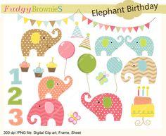 elephant clip art,Birthday elephants ,baby elephant clip art,cupcake,balloons,elephant,bunting,clip art.