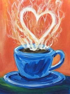 We host painting events at local bars. Come join us for a Paint Nite Party! Easy Canvas Painting, Diy Canvas, Easy Paintings, Painting & Drawing, Canvas Art, Acrylic Canvas, Painting Lessons, Painting Tips, Coffee Painting Canvas