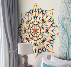 Beautiful and colorful tie dye mandala wall sticker to cheer up your decoration! #tenstickers #wallstickers #walldecor #decorideas #tiedye #DIY #mandalas