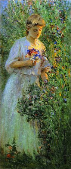 ⊰ Posing with Posies ⊱ paintings of women and flowers - Otto Stark | Suzanne in the Garden, 1904