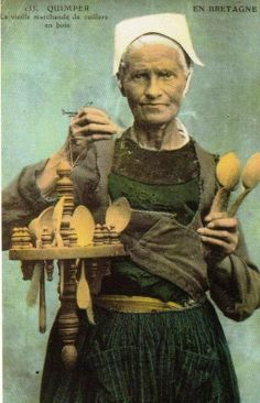 Old Time French Spoon seller from Brittany!  Check out the great port cuillere!