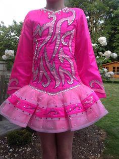 Glamorous Pink Siopa Rince Irish Dance Dress Solo Costume For Sale