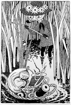Art by Tove Jansson (except the puppets). I remember owning a Moomin PVC figure on a keychain when I was a kid, and not knowing what it was from. Art And Illustration, Illustrations And Posters, Tove Jansson, Little My, Gravure, Illustrators, Character Design, Sketches, Drawings
