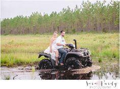 Trash the wedding dress photography, four wheeler style in the mud! ❤️ http://www.photographybysarapurdy.com