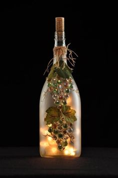 Planning to Make Decorative Wine Bottle Lights Without Drilling? Then We just might have the Right 19 Easy Decorated Wine Bottles with Lights Inside Ideas. Empty Wine Bottles, Wine Bottle Corks, Glass Bottle Crafts, Painted Wine Bottles, Lighted Wine Bottles, Diy Bottle, Bottle Lights, Decorate Wine Bottles, Glass Bottles