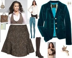 Posh Eclectic Vest, Plaid Wool Skirt, and Blue Velvet Blazer Ensemble