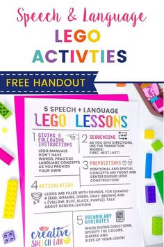 LEGOs are amazing tools to target a variety of speech and language goals. They make a handy tool for pediatric SLPs. I love that LEGOs are easy to sanitize and can also work well during distance learning sessions. I created this FREE LEGO handout to send home to families so they can practice speech and language at home. - Creative Speech Lab #legospeechtherapy #speechtherapytools #slptools #speechtherapyfreebie #legoactivities #speechtherapyideas #freespeechtherapyhandout