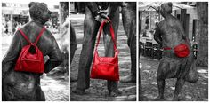 Beautiful leatherbags in red. From Leder Meid in Gießen, Germany.
