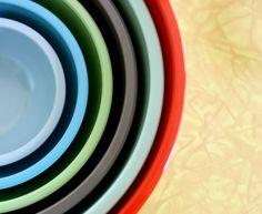 bowls via beautiful mess What Are Colours, Colors, Colour Pallette, Palette, Nesting Bowls, Mixing Bowls, Beautiful Mess, Kitchen Gadgets, Color Inspiration