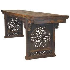 Large 19th Century Chinese Carved Hardwood Altar Table