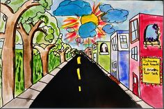 A simple way to incorporate 1 pt. perspective into a 3rd grade class.