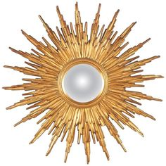 Mid-Century French Giltwood Convex Sunburst Mirror   From a unique collection of antique and modern sunburst mirrors at https://www.1stdibs.com/furniture/mirrors/sunburst-mirrors/
